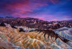 Point de Zabriskie au crépuscule, Death Valley image libre de droits