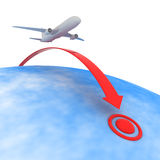 Point of destination. Airplane flying to the point of destination Royalty Free Stock Photo