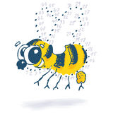 Point drawing with a little funny bee Stock Photography