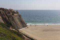 Point Dume Cliff at Westward Beach in Malibu California. Malibu, California, USA - June 29, 2017:  View of rock climbing cliff at Westward Beach in Point Dume Stock Photo