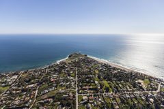 Point Dume Malibu California Aerial. Aerial view of multi-million dollar ocean view homes in the Point Dume neighborhood of Malibu, California Stock Photography