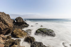Point Dume Malibu California Pacific Ocean Rocks with Motion Blu Royalty Free Stock Photo