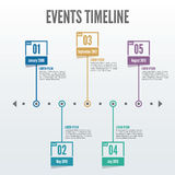 5 Point Events Timeline Infographic - Vector. Present your historical/time-based data in a simple infographic that features five colorful points of interest Royalty Free Stock Photo