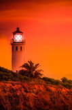 Point fermin lit up. The point fermin lighthouse lit up at sunset Royalty Free Stock Photo