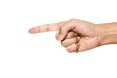 Point finger. Hand pointing finger in isolated shot Royalty Free Stock Image