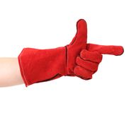 Point finger in red leather work glove. Stock Photos