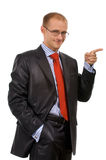 Point a finger something. Young businessman to point a finger at your text, object, ... Isolated on a white background in my studio Stock Photography