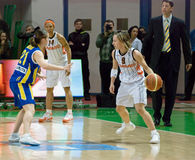Point Guard Celine Dumerc. EuroLeague 2010. Royalty Free Stock Photo