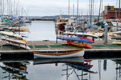 Point Hudson marina. Port Townsend, WA, USA October 31, 2016: Boats of various sizes including rental kayaks in Point Hudson marina at Port Townsend, Washington Stock Photography