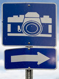 Point of interest road sign with white camera icon stock image
