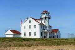 Point Judith Lighthouse, Narragansett, RI, Etats-Unis Photos libres de droits