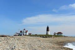 Point Judith Lighthouse, Narragansett, RI, Etats-Unis Images libres de droits