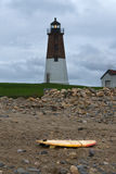 Point Judith Lighthouse Warns Ships of Approaching Storm. Royalty Free Stock Image