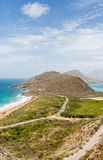 Point of Land on St Kitts. Between Atlantic Ocean and Caribbean Sea stock photo