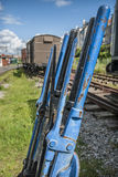 Point Levers. Railway track point levers on an old railway line Stock Image