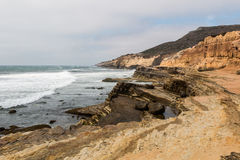 Point Loma, California Eroded Cliffs and Tide Pools. Stock Photo