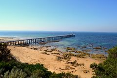 Point Lonsdale Pier. In Victoria Australia stock photography
