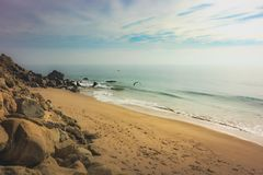 Point Mugu Beach. Coastal view of a sandy beach along Pacific Coast Highway, Point Mugu, California Royalty Free Stock Images
