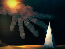 Point Of No Return. Surreal digital painting of a hand-shaped cloud reaching down towards a pointed metallic obelisk Stock Photo