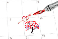 Point out Valentine's day in the calendar Stock Image