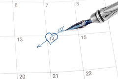 Point out Valentine's day in the calendar Royalty Free Stock Photos