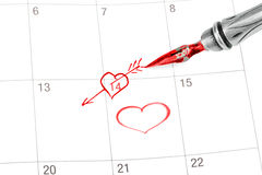 Point out Valentine's day in the calendar. Isolated on white stock illustration