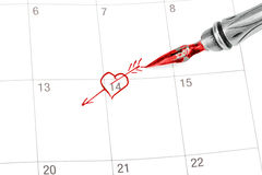 Point out Valentine's day in the calendar. Isolated on white vector illustration
