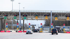 Point payment of travel on toll road with riding vehicles, Russia Royalty Free Stock Photography