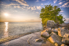 Point Pelee National Park beach at sunset Royalty Free Stock Photos