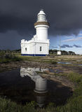 Point Perpendicular Lighthouse. Reflected in the pond Stock Photography