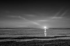 Point Roberts sunset at moonlight over the beach Royalty Free Stock Image