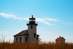 Point Robinson Lighthouse. On Maury Island, WA, was commissioned as a fog signal station on July 1, 1885 stock photos