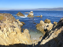 Point rocheux Lobos la Californie de littoral Image stock