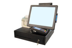 Point of sale touch screen system with thermal printer. And cash drawer stock images