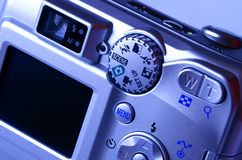 Point and shoot camera. Toned blue Royalty Free Stock Image