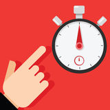 Point at stopwatch timer. Stopwatch and time illustration concept Stock Images