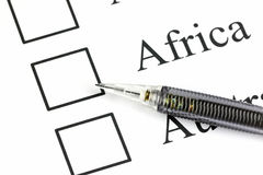 The point to Checkbox in Africa text. Stock Photos