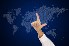 Point to digital world. Royalty Free Stock Images