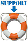 Point to Lifebuoy Support find help Stock Images