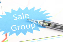 The point to sale group text on business graph. Stock Images