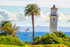 Point Vicente Lighthouse. Overlooking Catalina Island stock image