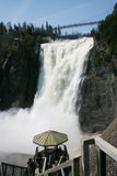 Point of view. At the top of stairs to observe better the montmorency water falls Stock Photo