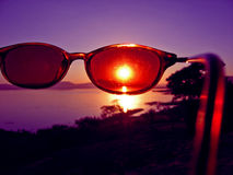 Point of View. Vision of Sunset through Sunglasses Stock Photos