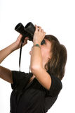 Point of view. Woman with spyglass - point of view Royalty Free Stock Image