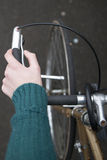 Point of view of bicycle handle bars Stock Photo