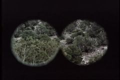 Point of view from binoculars searching mountain side stock video