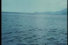 Point of view from boat at sea stock footage