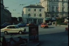 Point of view from car driving in Salzburg, Austria stock video