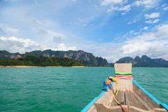 Point of view of Cheow Lan lake from long tail boat at Khao Sok National Park. In Thailand Royalty Free Stock Photography