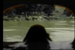 Point of view through diving mask of shoreline from water stock footage